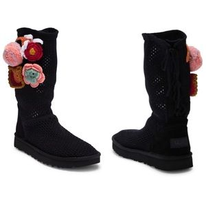 UGG Floral Crochet Genuine Shearling Lined Boot
